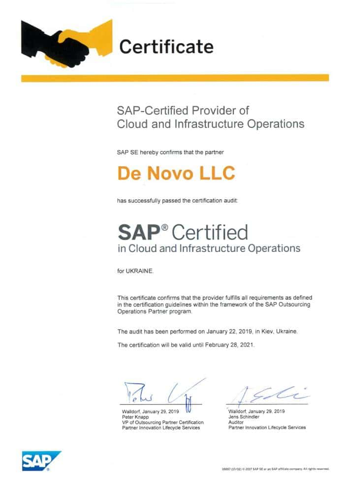 SAP Certified in Cloud and Insfrastructure Operations