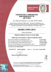 ISO/IEC 27001 certificate of conformity